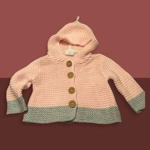 Nordstrom Grey & Pink Knit Hooded Cardigan NWOT